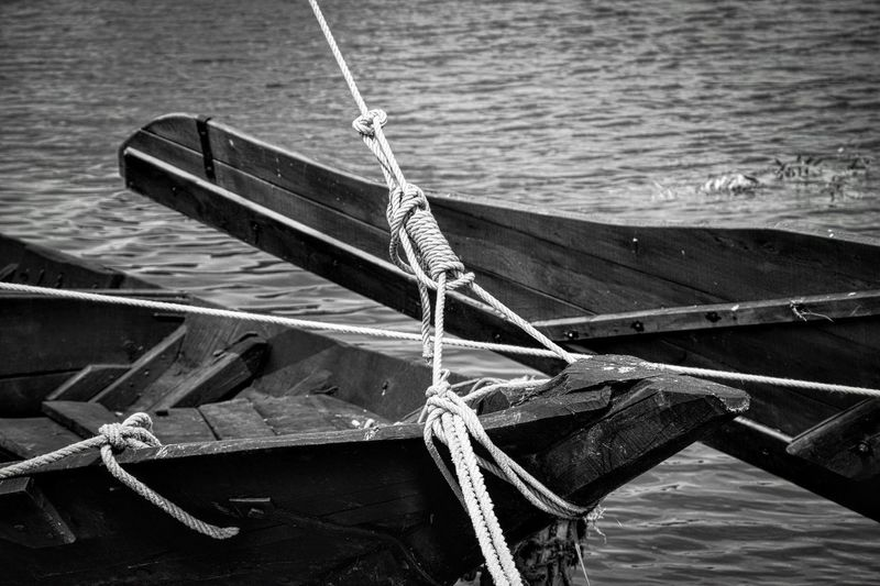 Close-Up Of Moored Boats