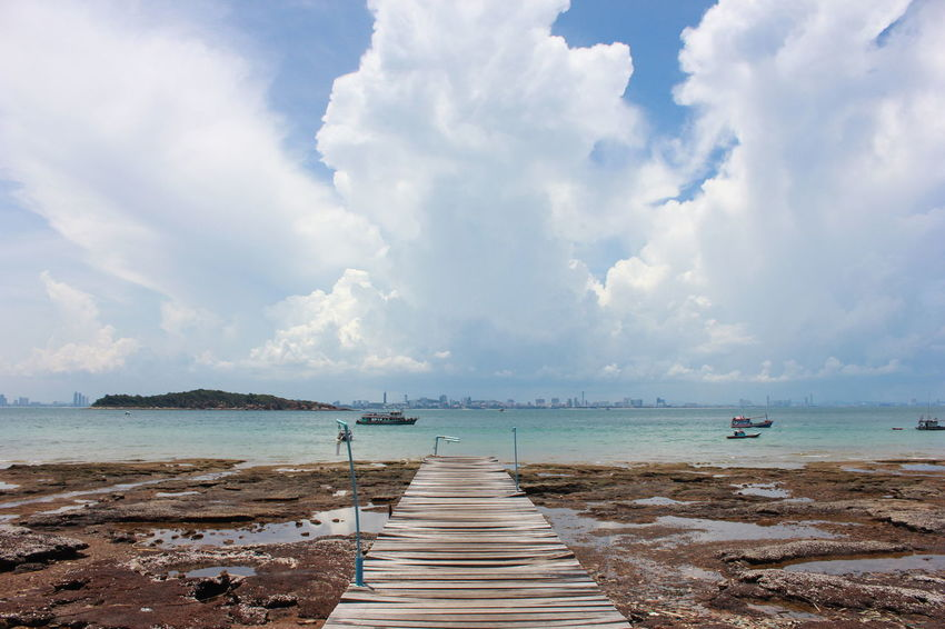 Sky And Clouds Thailand Travel Beach Beauty In Nature Cloud - Sky Day Horizon Over Water Island Jetty Koh Larn Nature Nature_collection Nautical Vessel No People Outdoors Scenics Sea Ship Sky Summer Tranquil Scene Tranquility Walkway Water