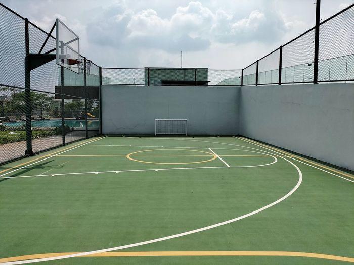 Empty outdoor sport court