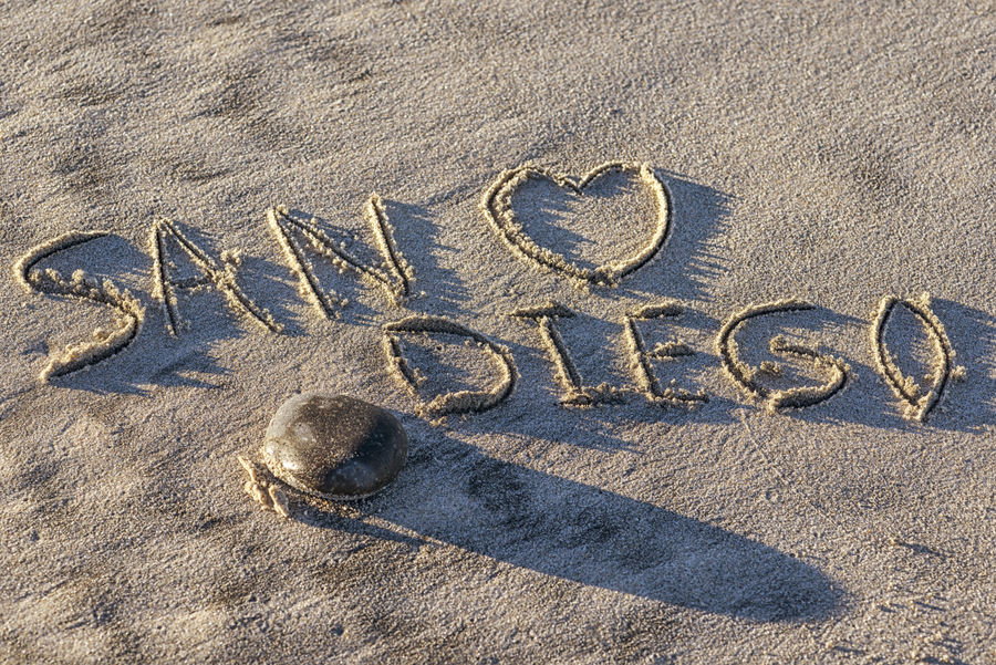 The word San Diego written in the sand. Beach Close-up Day Ground Heart Shape No People Outdoors Sand Travel Destinations Written In The Sand