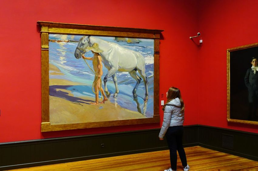 SPAIN Madrid Madrid Spain Tourist Attraction  Picture Sorolla Horse Visiting Museum Looking Tourism Historical Building Girl Young Women Museum Standing Art Museum Painted Image Painter - Artist Picture Frame Oil Painting Modern Art Paintings Fine Art Painting Exhibition Oil Paint Artist's Canvas