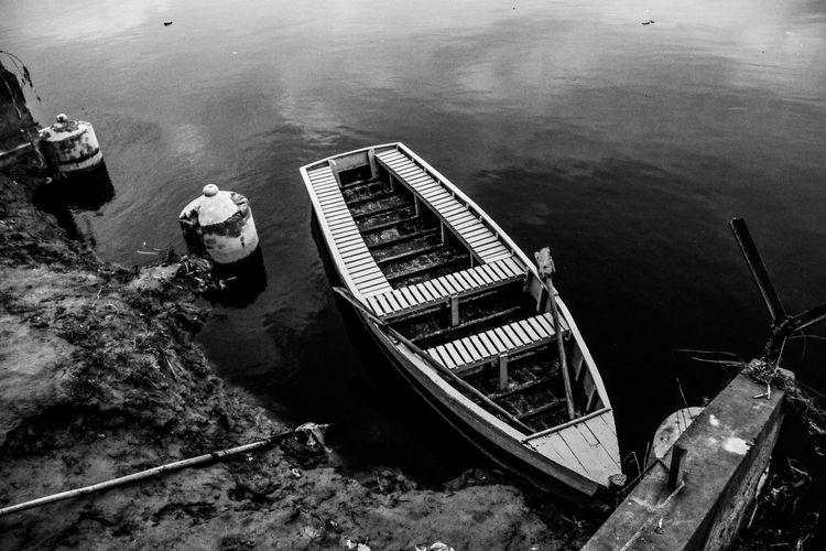 High angle view of abandoned boat moored at sea