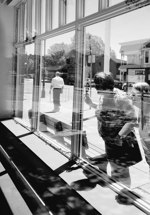 The Graphic City An Eye For Travel Blackandwhite Blackandwhite Photography Black And White Black And White Photography Geometric Shape Eyeem Reflections Shadows Shadow EyeEmNewHere Peeking Peering Glass Black And White Photography Black And White Seneca Falls Museum Women's Rights Street Photography Sidewalk Photography Window Reflection Indoors  Occupation Real People City People Day Visual Creativity The Portraitist - 2018 EyeEm Awards The Creative - 2018 EyeEm Awards #urbanana: The Urban Playground