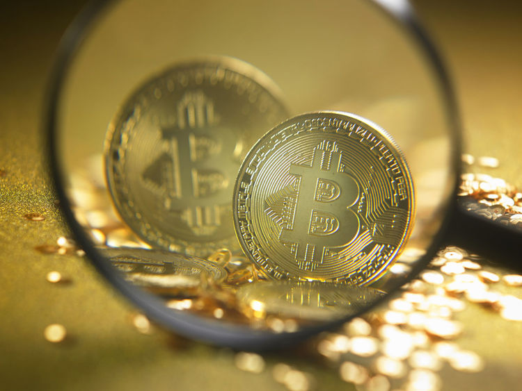 Golden Bitcoins,Bitcoin on Golden background - the new virtual money Anonymous Business CryptoCoin Currency Eletronic Enlarge Gold Golden Market Virtual Banking Bitcoin Cash Coin Crypto Cryptocurrency Digital Financial Focus On Foreground Magnifier Mining Money Payment Searching Trade