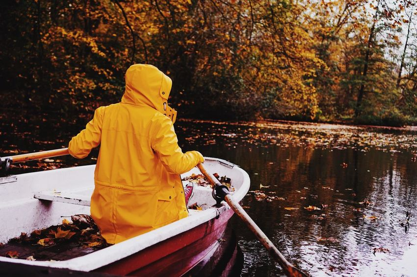 Autumn Water Outdoors Real People Nature Nautical Vessel River Tree One Person Day Oar People Adult Forest Leaf Men Beauty In Nature Sitting Full Length Adults Only Warm Clothing The Week On EyeEm Lifestyles Autumn Colors Real Photography
