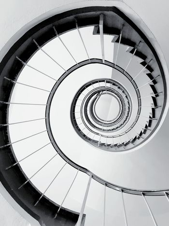 Wendeltreppe/ spiral staircase from below in black and white edit. ... Selected For Partner Snail Like Spiral Staircase Spiral Stairs Steps And Staircases Spiral Steps Staircase Railing Architecture Built Structure Stairs Narrow Hand Rail Design Circle Geometric Shape Architectural Detail Concentric Circular