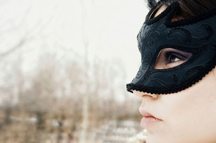Mask Mask - Disguise Venetian Mask One Woman Only One Young Woman Only Face Hidden Hiding Face Human Eye Portrait Eyelash Beautiful Woman Young Women Beauty Women Human Face Headshot Females Eyeshadow Eye Make-up Make-up Human Lips Blank Expression