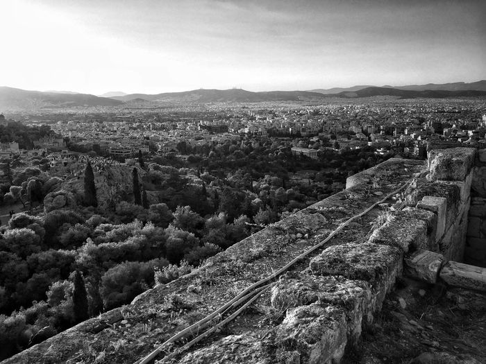 Acropolis view Architecture Built Structure History Mountain High Angle View Day Nature Travel Destinations No People Outdoors Scenics Sky Landscape Beauty In Nature Building Exterior Ancient Civilization Blackandwhite City View  Stone Structure Ancient City View From Above Athens, Greece The Week On EyeEm Architecture Stone Tile Black And White Friday Black And White Friday