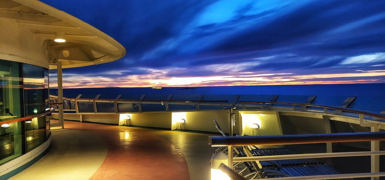 Sunset Baltic Sea Stoccolma Illuminated Sea Sunset Water Dusk Sky Architecture Cloud - Sky