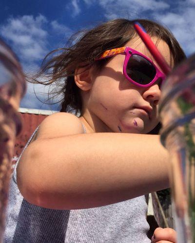 Girl Wearing Sunglass Against Sky