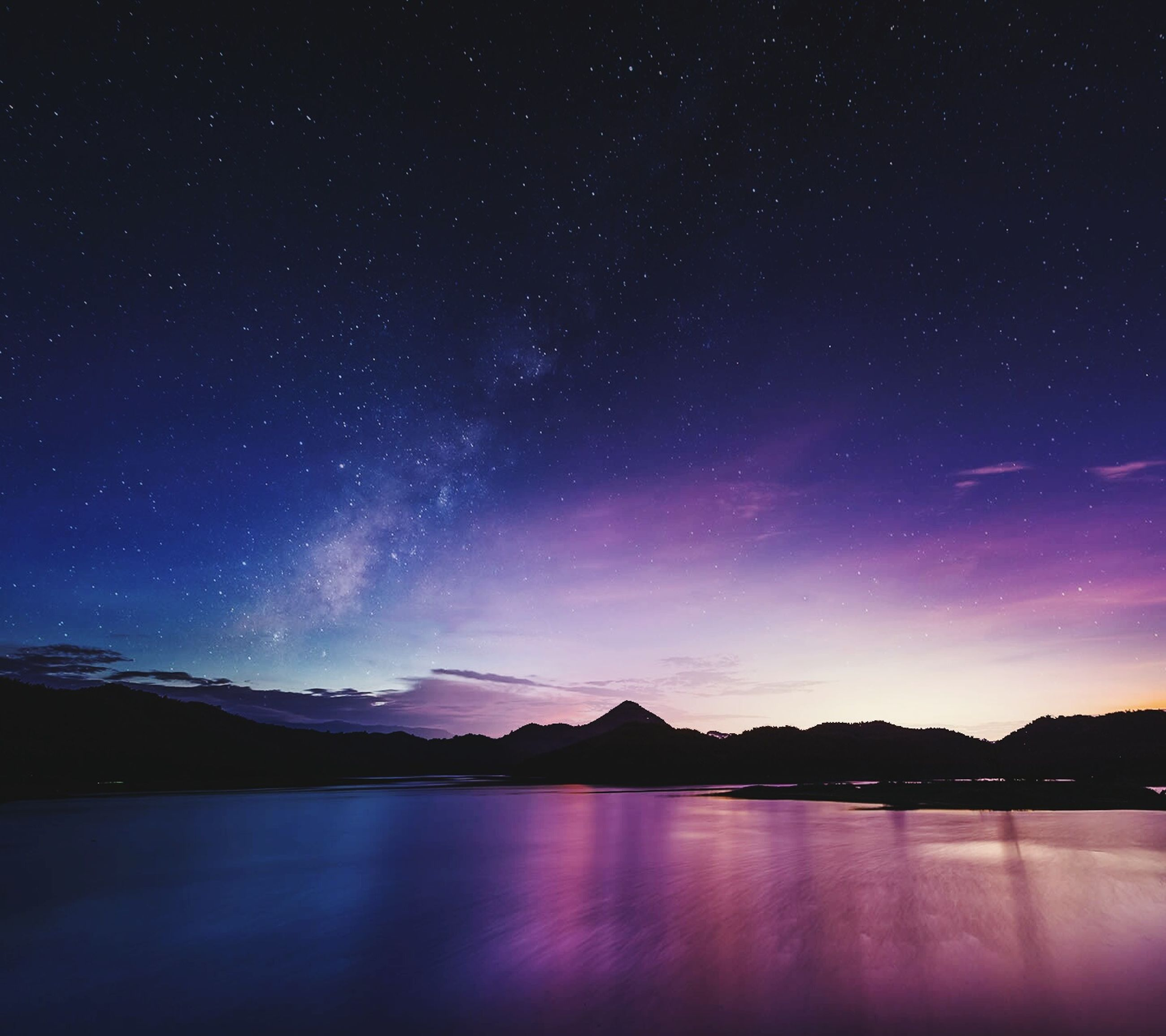 night, tranquil scene, scenics, star - space, tranquility, beauty in nature, star field, astronomy, sky, water, nature, idyllic, galaxy, mountain, majestic, lake, star, space, reflection, waterfront