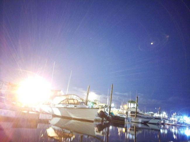 Fishing Night Yacht Sky Harbor Water Reflection Sea Ocean Bright Moon