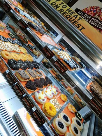 Tasty Yummy Donuts Chocolate High Angle View Indoors  Store Food And Drink Choice Large Group Of Objects Food No People Sweet Food Ready-to-eat EyeEmNewHere