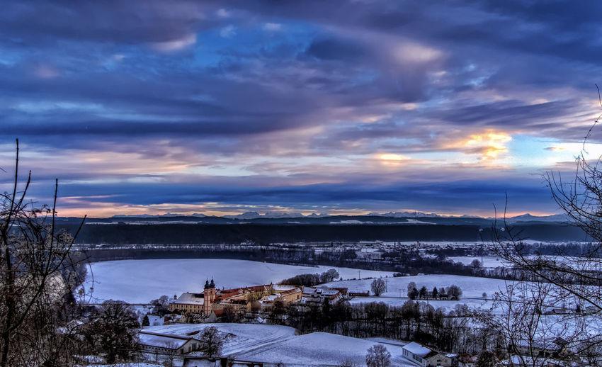 Abendstimmung Alpenvorland Au Am Inn Berge Kloster Sakralgebäude Schnee Winter