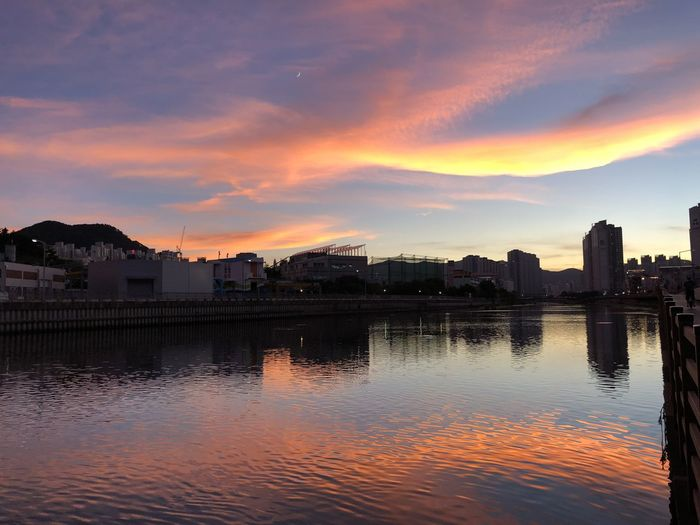 Sunset_collection Travel Architecture Beauty In Nature Building Building Exterior Built Structure Busan City Cityscape Cloud - Sky IPhoneX Nature No People Orange Color Outdoors Reflection River Romantic Sky Scenics - Nature Silhouette Sky Sunset Water Waterfront