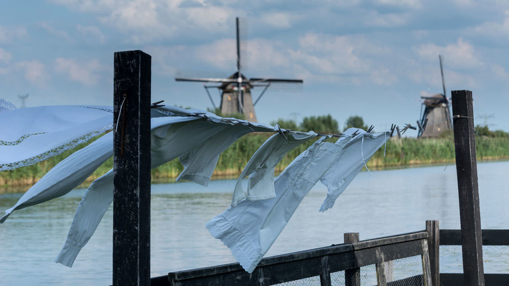 Laundry Washing Day Drying Drying Clothes Drying Laundry Drying Underwear No People Outdoors Sky Underwears Wind Wind Power Wind Turbine Windmill