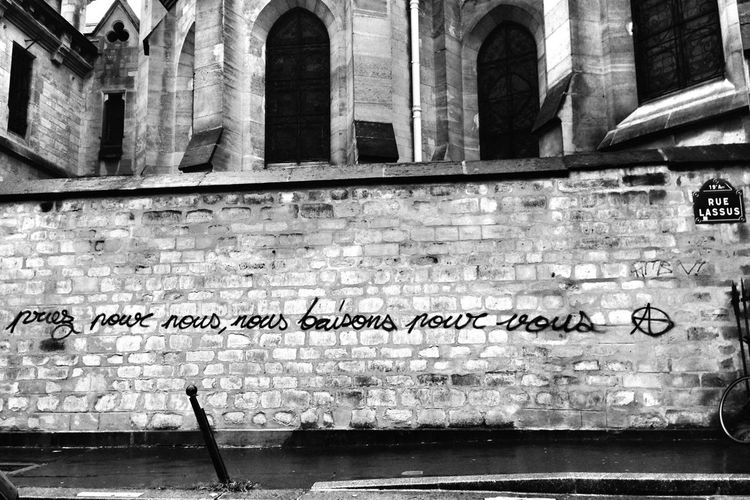"""""""Pray for us, we fuck for you."""" Graffiti IPhoneography Blackandwhite Street Life"""
