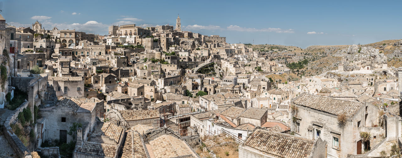 Matera, The 2019 European Capital Of Culture Architecture Building Exterior Built Structure City Building Residential District Cityscape High Angle View Day No People Sky Town Outdoors Travel Destinations Travel Community Sunlight TOWNSCAPE Culture Italy Heritage Site Heritage Tourism