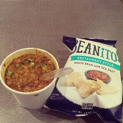 Lunch Lentil soup with some Beanitos (my own) Nongmoproject great as a dip for the the thick lentil soup! Yumm