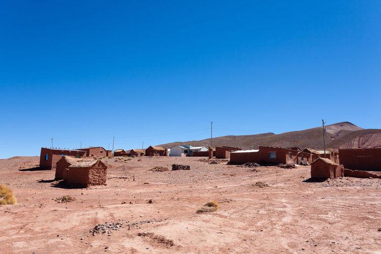 Houses on field against clear blue sky