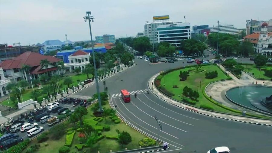Flying High High Angle View Aerial View Politics And Government Built Structure Architecture Social Issues City Cityscape Outdoors Stadium Day People Golf Club Week On Eyem EyemIndonesia Semarang Tugumuda Way Street Town Photography Long Shot City Hight Angle View