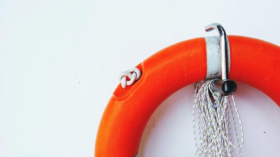Life belt hanging on wall