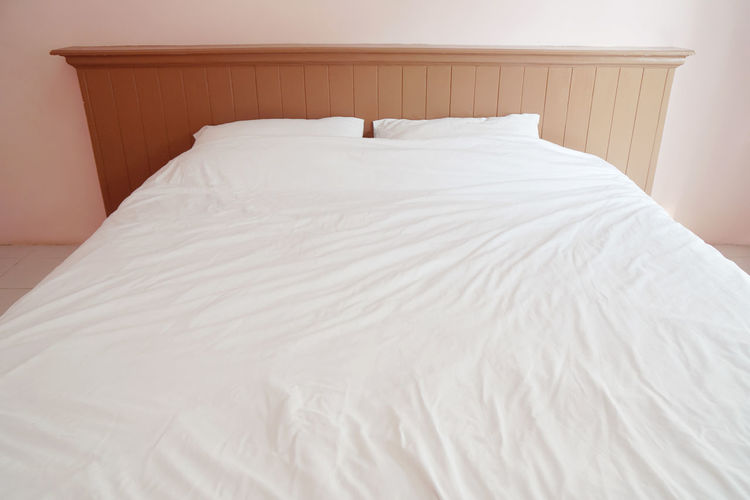 High angle view of empty bed