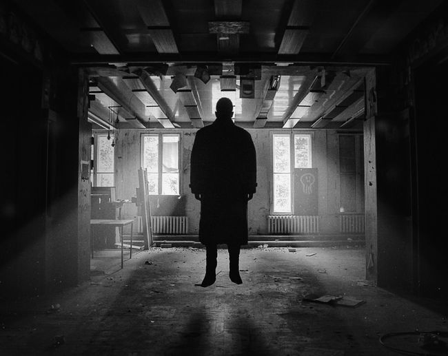 Indoors  Silhouette One Person People Adult One Man Only Standing Men Adults Only Only Men Day Black And White Bnw The Week On EyeEm Berlin Dark Black Abandonned Places Urban City Light Sunlight