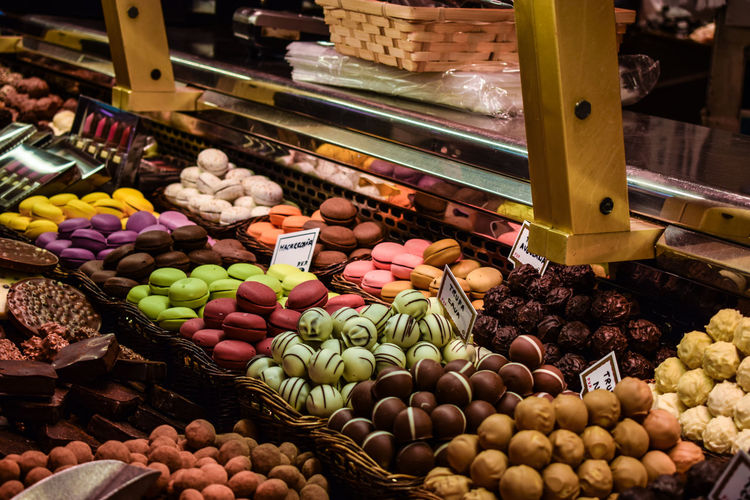 Colorful desserts for sale in store