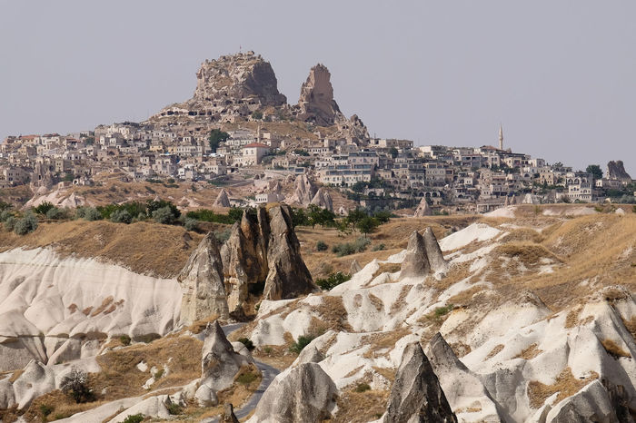 Uçhisar in the Cappadocia region on Turkey Cappadocia Turkey Building Exterior Cliff No People Outdoors Rock - Object Rock Formation Sky Travel Destinations Uçhisar