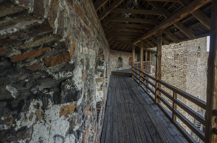 wooden gallery medieval fortress in Lubart Castle or Lutsk High Castle Architecture Castle High Lubart Lutsk Abandoned Architecture Building Exterior Built Structure Day Fortress Gallery Indoors  Medieval No People Wood - Material Wooden