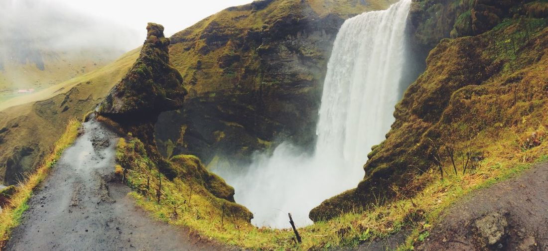 Skogafoss Skogafoss Falls, Iceland Iceland Memories Iceland Trip Iceland Waterfall Beauty In Nature Fog Outdoors Travel Destinations Stream - Flowing Water Autumn Colors