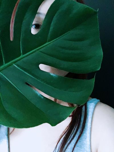 Woman Hide Leaf Woman Me One Person Real People Portrait Lifestyles Green Color Close-up Adult Young Women Clothing Indoors  Body Part Human Face