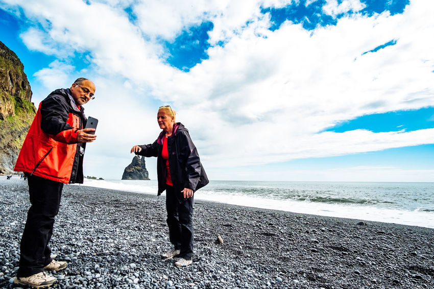 Iceland Beach Beauty In Nature Cloud - Sky Day Full Length Horizon Over Water Leisure Activity Lifestyles Men Nature Outdoors People Real People Sea Sky Togetherness Vacations Water Women Young Adult Young Women