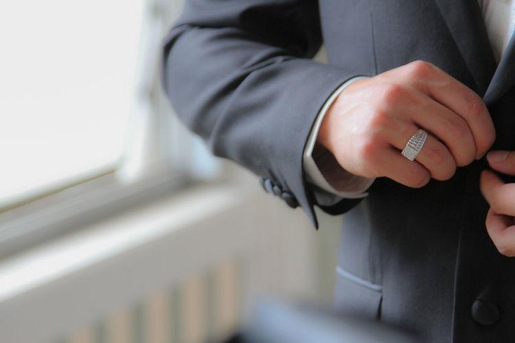 Close-up of man wearing blazer
