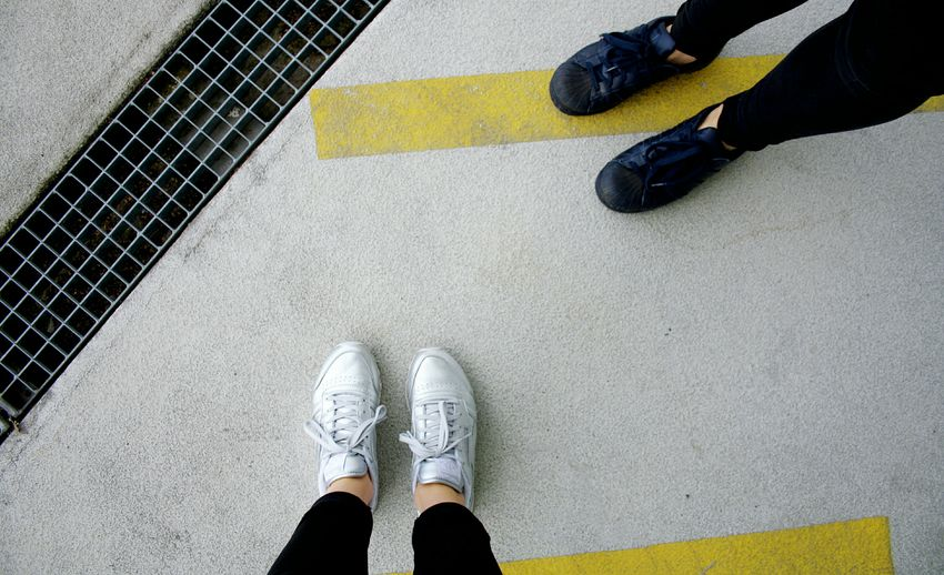 ... Colors And Patterns Pattern Lines Structure Shoes Person Lifestyles Yellow Footwear Outdoors Walking Around Urban Minimalism Simplicity Taking Photos People Together Shootermag EyeEm Best Shots