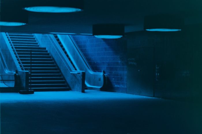 Filmphotography Film Shadow Light Blau Blue Treppe Steps Escalator Berlin Deutschland Germeny