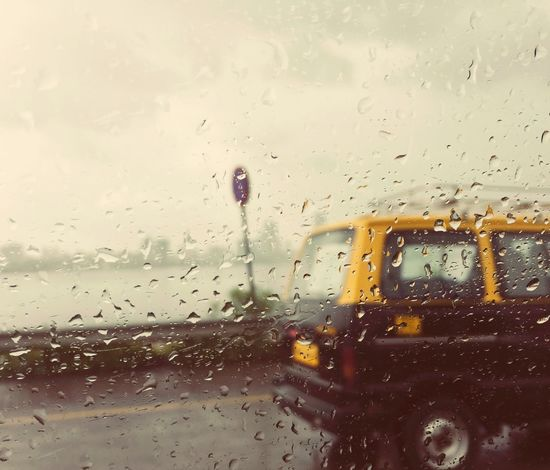window bridge sealink Rain Drops Taxi Yellow Love Rain City Of Dreams Visual Feast Mumbai Travel Destination The Week On EyeEm Droplets Window Glass Transportation Outdoors