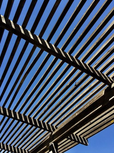 Low angle view of wooden structure against sky