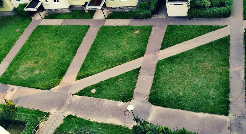 High angle view of footpaths in lawn