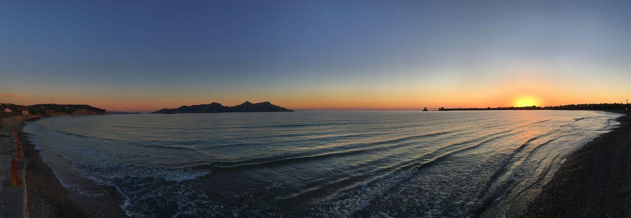 Methoni Sea Sunset Water Beauty In Nature Beach Horizon Over Water Horizon