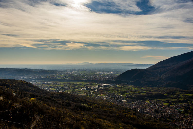 View of the venetian plain between the pre-alps seen from caltrano, vicenza, italy