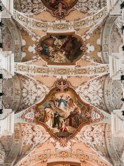 Religion Architecture Spirituality Art And Craft Mural Place Of Worship Belief Ceiling Built Structure Indoors  History Craft The Past No People Fresco Travel Destinations Low Angle View Architecture And Art Ornate Directly Below