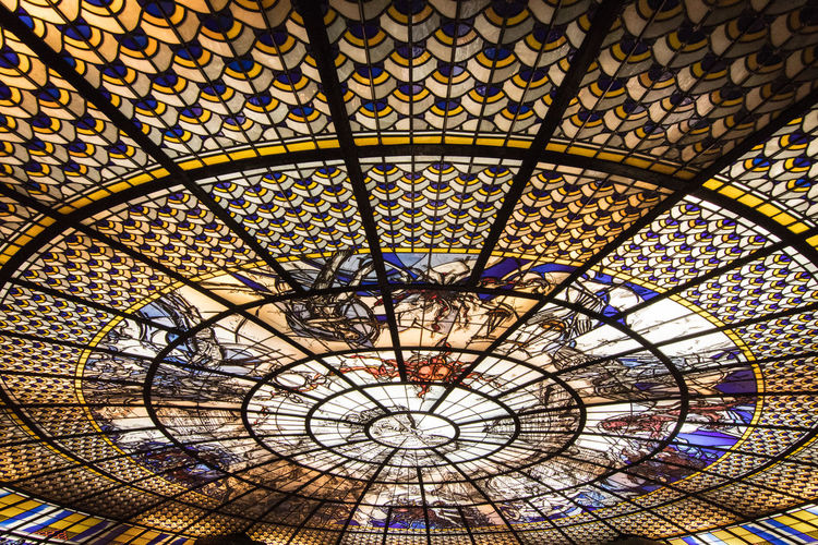 Belly of the Beast. Colors Cool Stained Glass Abstract Architecture Built Structure Clock Close-up Converging Lines Day Diagonals Glass Indoors  Monument No People Pattern Travel Destinations