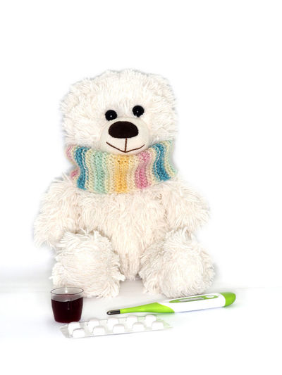 Child Childhood Close-up Coldness Illness Kind Medecine No People Scarf Smile Studio Shot Tablets Teddy Teddy Bear Thermometer Toy White Background