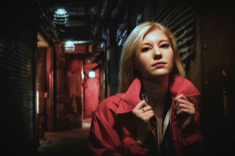 One Woman Only Indoors  Portrait Blond Hair City Life Urban Japan Scenery Close-up Colours Lights Night EyeEmNewHere