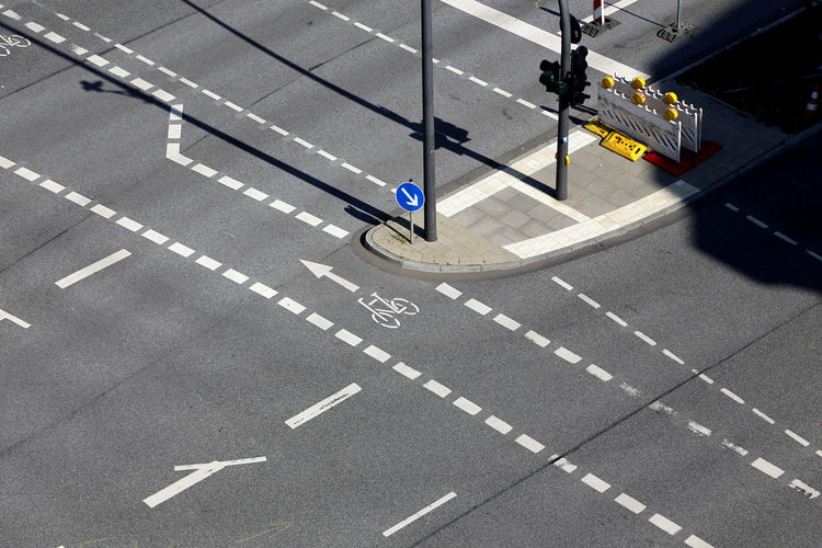 High angle view of road markings on city street