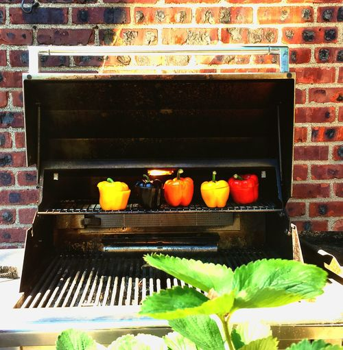 No People Food And Drink Day Food Freshness Grilling Vegetables Grilling Peppers Colorful Peppers Brick Wall Old
