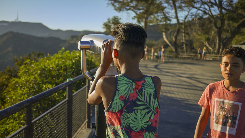Adult Adults Only Boys Will Be Boys BoysBoysBoys Close-up Day Hollywood Hollywood Hills Hollywood Sign Only Men Outdoors People Photography Themes Rear View Standing Technology Tropical Tropical Climate Two People