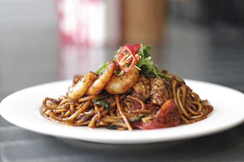 Close-up of mie goreng in plate on table